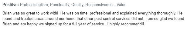 Exterminator Wayne NJ Client Testimonial